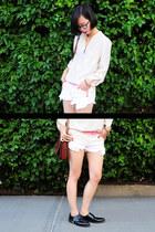 pink ombre Pixie Market shorts - brown leather The Bridge bag
