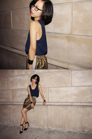gold and navy Paul&Alice dress