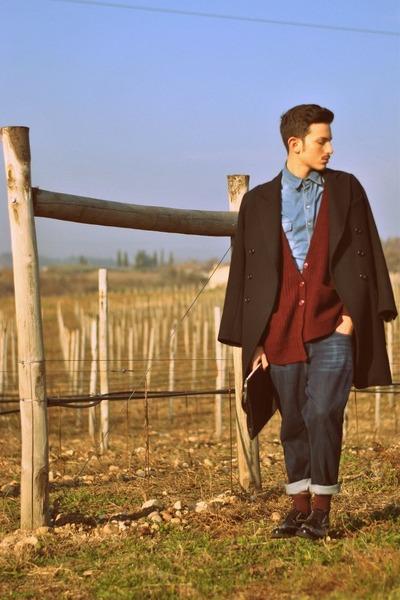 blue Topshop jeans - black ann demeulemeester coat - balenciaga bag