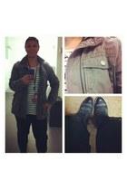 harem pants Forever 21 romper - combat GoJane boots - army Esprit jacket