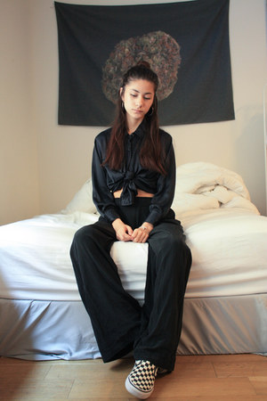 black DKNY blouse - black Derek Lam 10 Crosby pants - black Vans sneakers