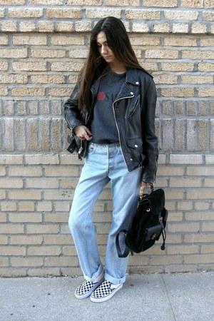 black Gucci bag - sky blue Levis jeans - white Vans sneakers