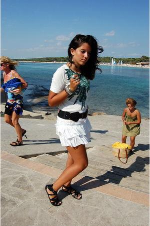 white Stradivarius skirt - white t-shirt - black belt - black H&M shoes - silver