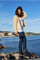 white H&M t-shirt - silver Zara jeans - beige mama blouse - black Zara boots - R