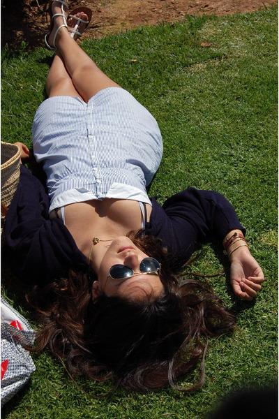 blue H&M dress - Ray Ban sunglasses