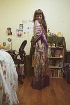 deep purple silk senegalese dress - deep purple scarf