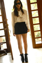 Topshop shorts - 11th of October blouse - Shop Like Amanda wedges - rayban glass