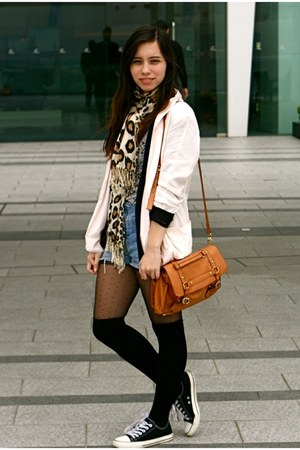 light pink cotton on jacket - Topshop tights - In Fashion scarf - cotton on bag