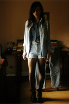 Topshop tights - Thrift Store shorts - Shop Like Amanda wedges - babo blouse