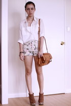 cotton on bag - Forever 21 shorts - Forever 21 blouse