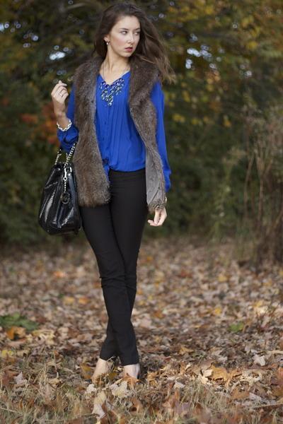 faux fur TJ Maxx vest - leather Michael Kors bag - Dynamite pants