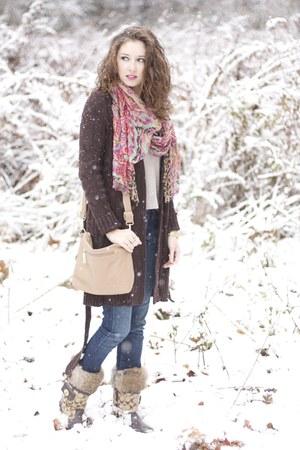 winter boots coach boots - Guess jeans - TJ Maxx shirt - TJ Maxx scarf
