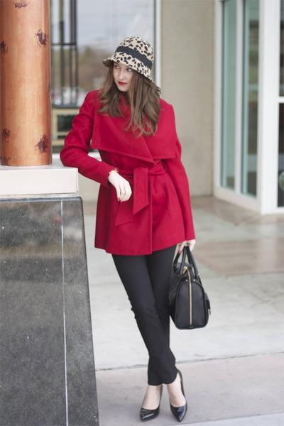 red JCPenney jacket - leopard Aldo hat - Ralph Lauren bag