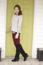 grey sweater Bitten by Sarah Jessica Parker sweater - gianni bini boots
