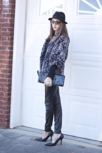 black J Crew hat - faux fur jacket - bag - pumps - faux leather pants
