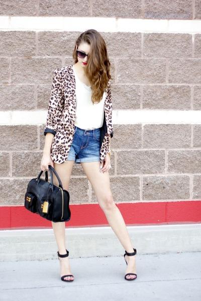 leopard Ellison via Selah blazer - leather satchel Ralph Lauren bag