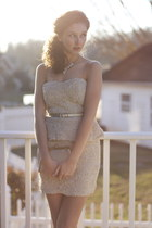 Ross Dress for Less dress - gold clutch vintage bag - TJmaxx necklace