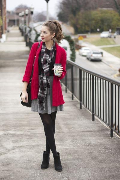 plaid scarf zellers scarf - black suede Bjorndal boots - TJ Maxx shirt