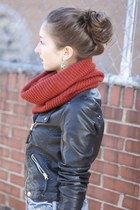 rust knit scarf H&M scarf - American Eagle jeans - TJ Maxx jacket