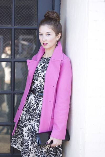 pink peacoat delias coat - TJ Maxx shoes - damask dress Charming Charlie dress