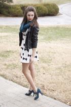 teal kohls scarf - H&M dress - faux leather TJ Maxx jacket