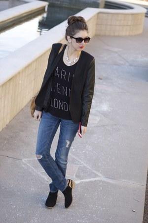 TJmaxx blazer - Dolce Vita via TJMaxx boots - distressed Express jeans