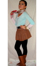 Brown-fang-skirt-blue-express-top