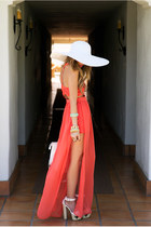 coral dress - ivory hat - accessories - brown belt - ivory heels
