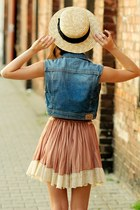 peach lace skirt - eggshell hat - sky blue denim vest