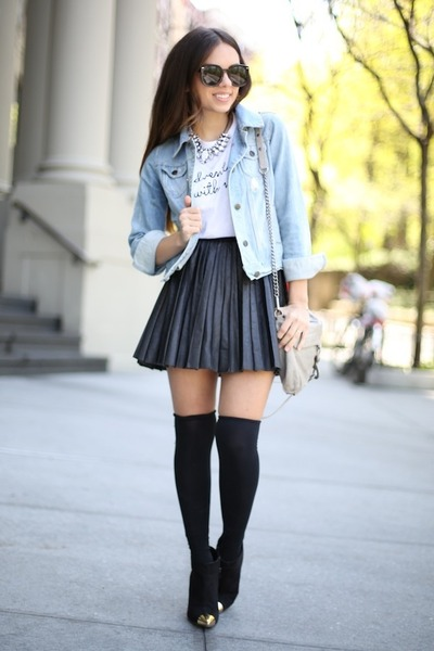 9d950338a4 heather gray skirt - denim jacket - beige bag - black socks - black  sunglasses