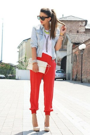 red pants - jacket - bag - sunglasses - heels