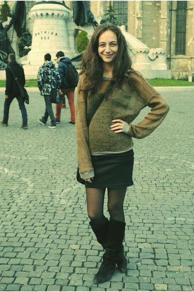 boots - bag - skirt