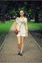 brown bag - white Esprit shorts - Cortefiel blouse - unknown sneakers