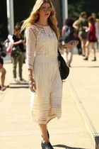 white long dress - black bag - glasses