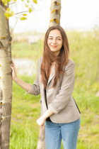 grey jacket - blue jeans