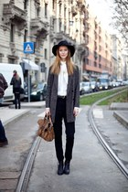 boots - coat - hat - shirt - bag - pants