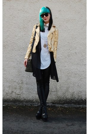 neutral neutral jacket - boots - black bag - leather pants - necklace