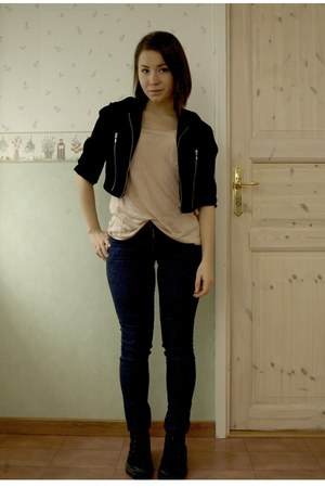 navy Cheap Monday jeans - black Palladium shoes - black made by me jacket - nude