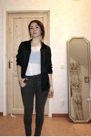 Cheap Monday jeans - vintage shirt - lindex bra - vintage shirt