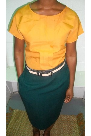 mustard casual chic shirt - forest green pencil skirt skirt - cream belt