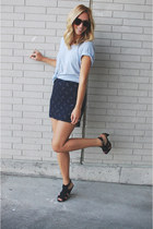 navy thrifted skirt - silver American Apparel t-shirt - black H&M heels