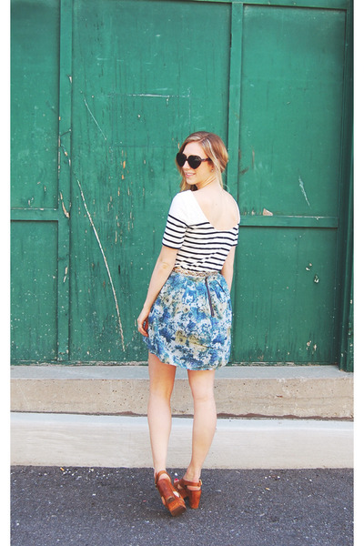 sky blue floral Urban Outfitters skirt - white striped joe fresh style t-shirt -