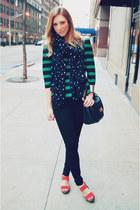 black unknown jeans - navy Anne Taylor scarf - coral Mrkt heels - teal Zara blou