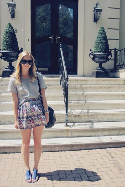 zig zag Durumi skirt - silk joe fresh style blouse - blue Zara sandals
