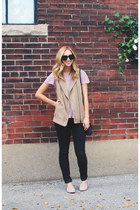 black Nudie Jeans jeans - deep purple Heys purse - tan Club Monaco vest