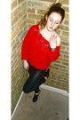 Black-leather-pants-topshop-pants-red-ruffles-american-apparel-sweater