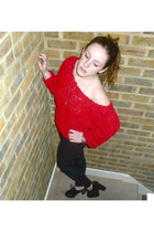 black leather Urban Outfitters heels - red ruffles American Apparel sweater