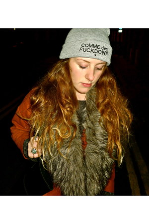 black leather Marks and Spencers bag - burnt orange faux fur Topshop coat