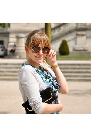 blue H&M dress - silver Promod cardigan - pink Pierre Cardin glasses - black pur