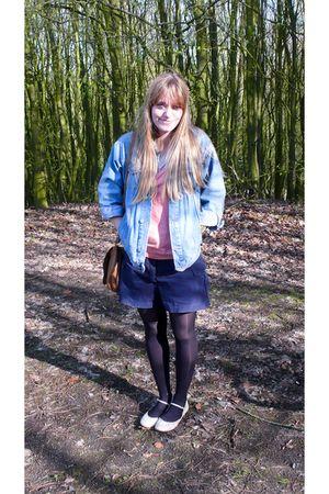 blue vintage jacket - pink etam t-shirt - white Zaza t-shirt - blue vintage shor